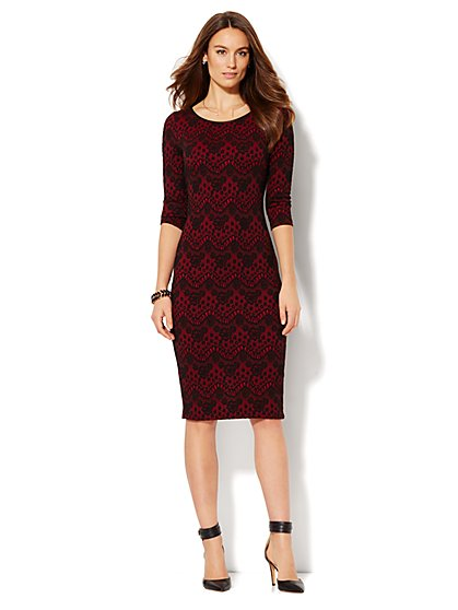 Faux-Leather Trim Lace Sheath Dress  - New York & Company
