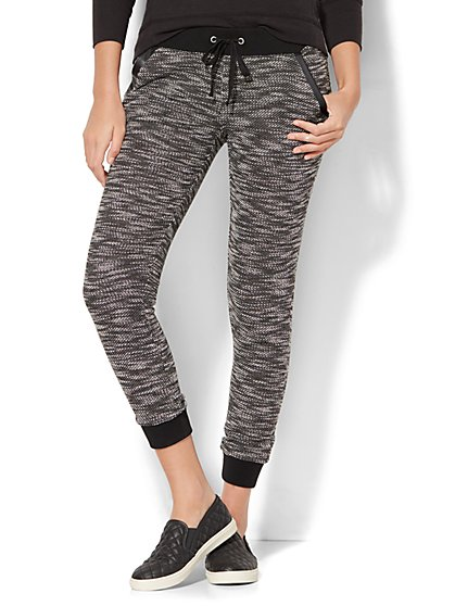 Faux-Leather Trim Marled Jogger - New York & Company