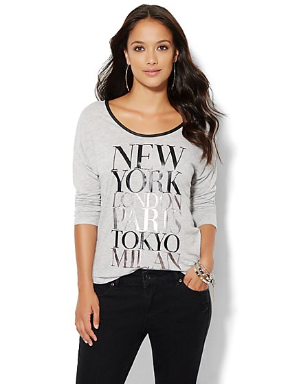 Faux-Leather Trim Metallic Tee  - New York & Company