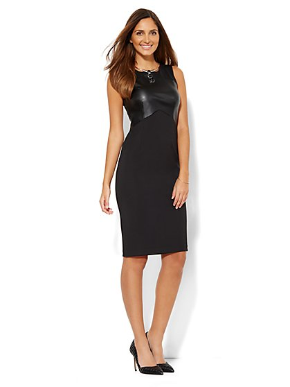 Faux-Leather Trim Midi Sheath Dress - New York & Company