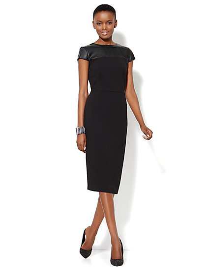 Faux-Leather Trim Midi Sheath - New York & Company