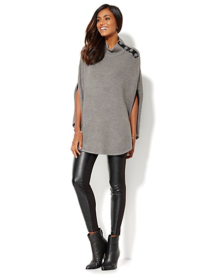 Faux-Leather Trim Mock-Neck Poncho - New York & Company
