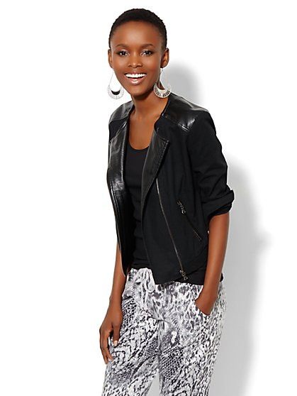 Faux Leather-Trim Moto Jacket - New York & Company