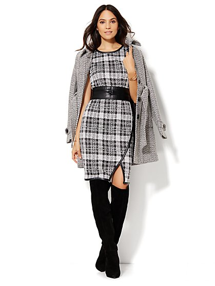 Faux Leather-Trim Sheath Dress - Plaid  - New York & Company