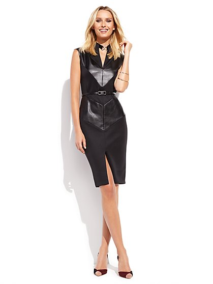 Faux-Leather Trim Sheath Dress  - New York & Company