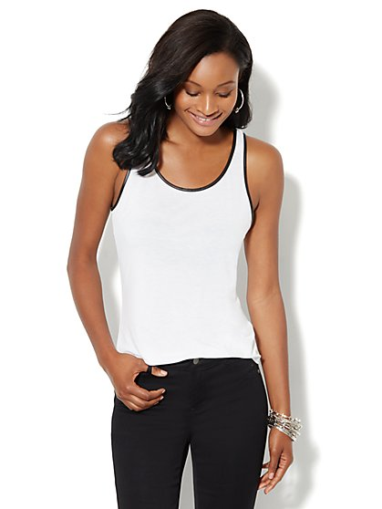Faux-Leather Trim Tank - New York & Company