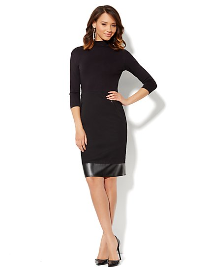Faux-Leather Trim Turtleneck Dress - New York & Company