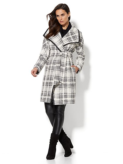Faux-Leather Trim Wrap Coat - Herringbone - New York & Company