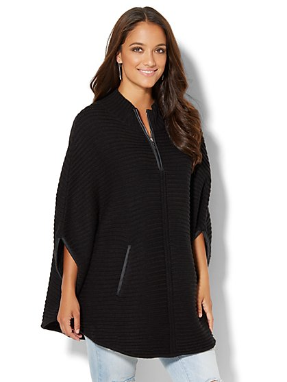 Faux-Leather Trim Zip Poncho - New York & Company
