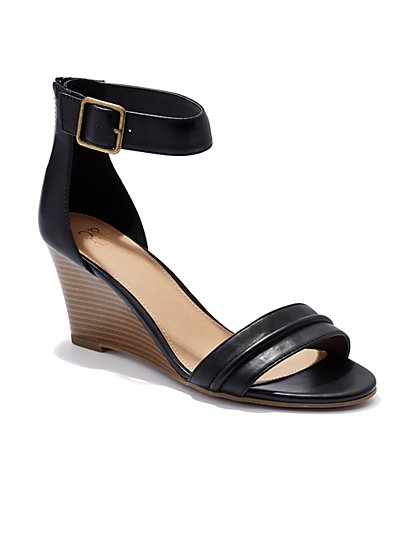 Faux-Leather Wedge Sandal  - New York & Company