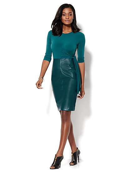 Faux-Leather Wrap Dress - Petite  - New York & Company