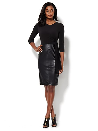 Faux-Leather Wrap Dress - New York & Company