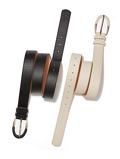 Faux-Leather Wrapped-Buckle Belt