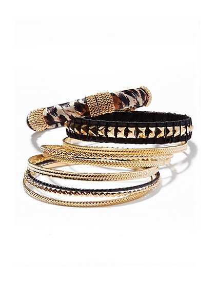 Faux-Leopard & Metallic Bangle Set