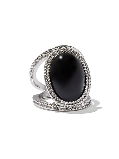 Faux-Onyx Cabochon Ring  - New York & Company