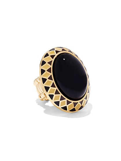 Faux-Onyx Cabochon Stretch Ring  - New York & Company