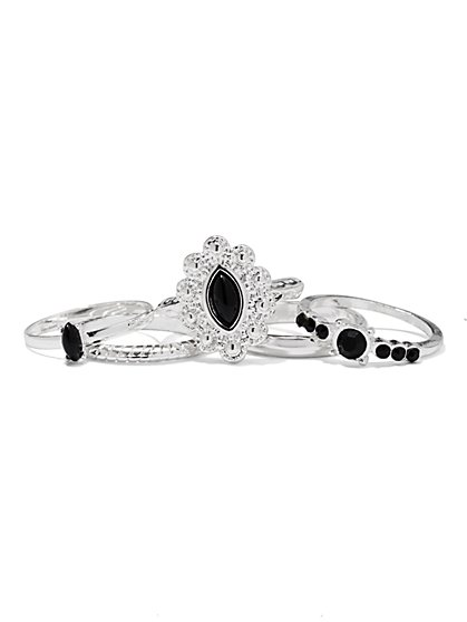 Faux-Onyx & Silvertone Ring Set  - New York & Company