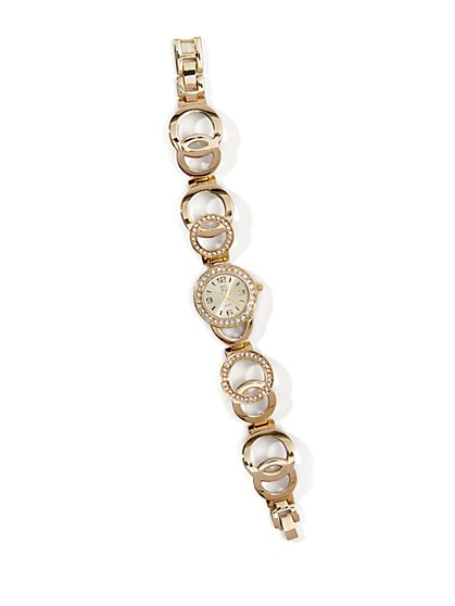 Faux Pave Crystal Bracelet Watch