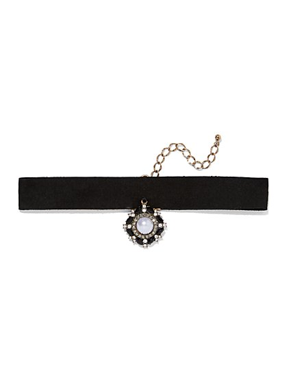 Faux-Pearl Accent Choker Necklace  - New York & Company