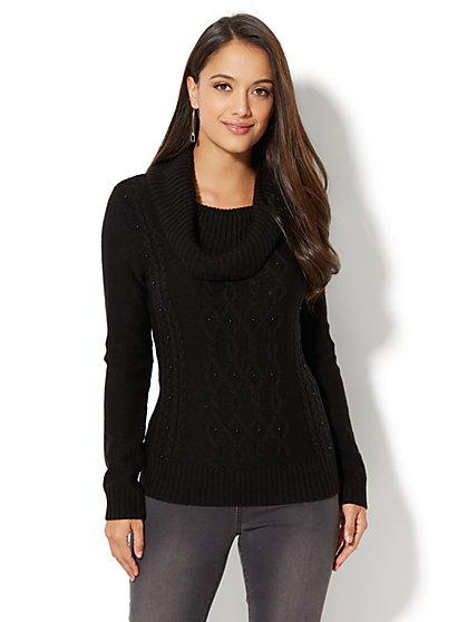 Faux-Pearl Accent Cowl-Neck Sweater - New York & Company