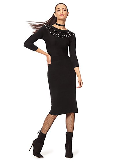 Faux-Pearl Accent Sweater Dress - New York & Company