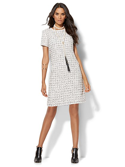 Faux Pearl-Accent Tweed Shift Dress - Tall  - New York & Company