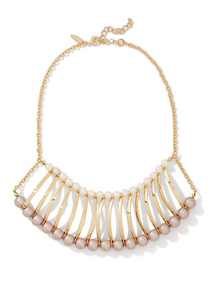 Faux-Pearl Accordion Necklace  - New York & Company