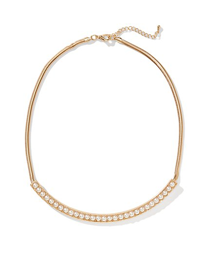 Faux-Pearl Bar Collar Necklace  - New York & Company