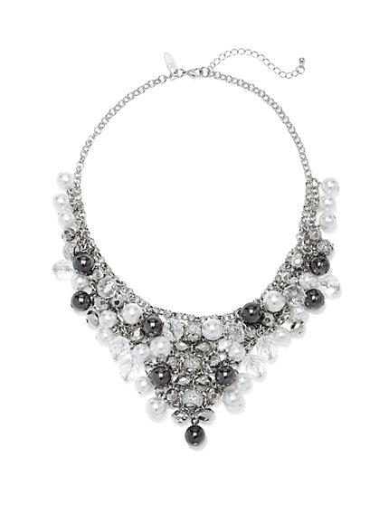 Faux-Pearl & Beaded Bib Necklace  - New York & Company