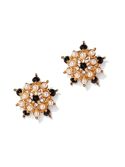 Faux-Pearl & Beaded Cluster Post Earring  - New York & Company