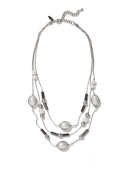 Faux-Pearl & Beaded Layered Necklace  - New York & Company