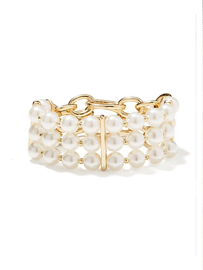 Faux-Pearl Beaded Stretch Bracelet