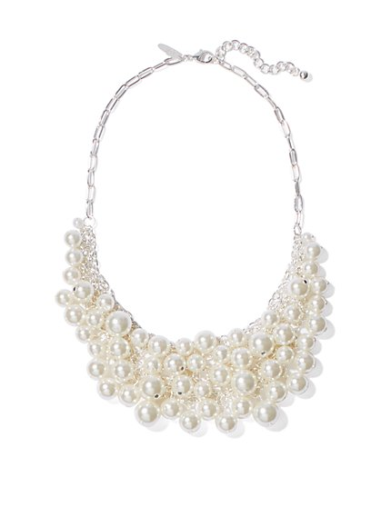 Faux-Pearl Beads Bib Necklace - New York & Company