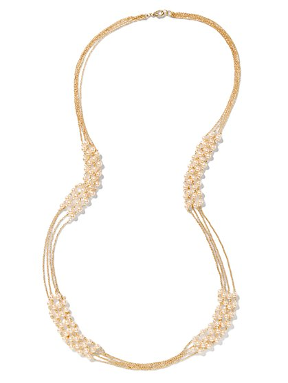 Faux-Pearl Beads Multi-Strand Necklace