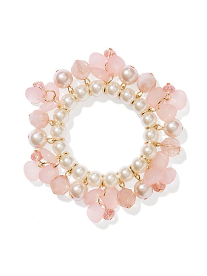 Faux Pearl & Beads Stretch Bracelet