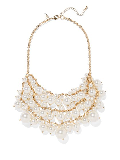 Faux-Pearl Bib Statement Necklace  - New York & Company