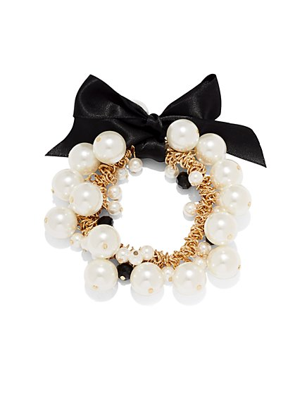 Faux-Pearl & Bow Stretch Bracelet  - New York & Company