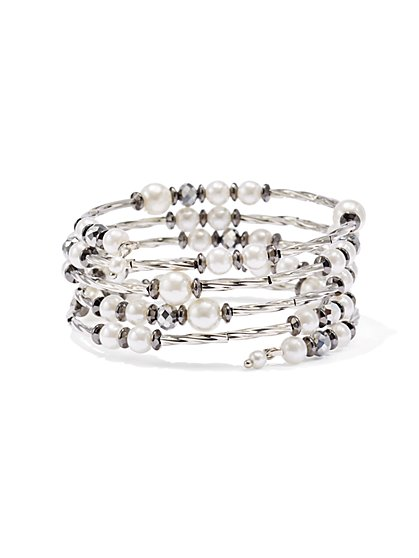 Faux-Pearl Cable Coil Bracelet  - New York & Company