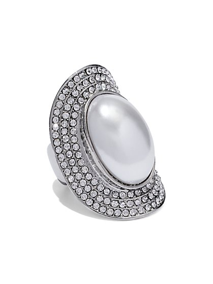 Faux-Pearl Cabochon Ring  - New York & Company