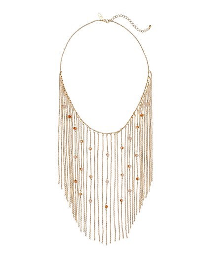 Faux-Pearl Chain-Link Bib Necklace  - New York & Company