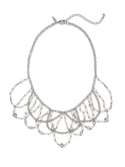 Faux-Pearl Chain-Link Draped Necklace  - New York & Company