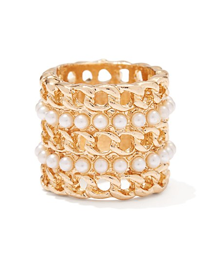 Faux-Pearl Chain-Link Ring  - New York & Company