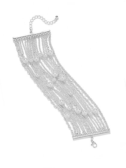 Faux-Pearl Chain-Link Toggle Bracelet - New York & Company