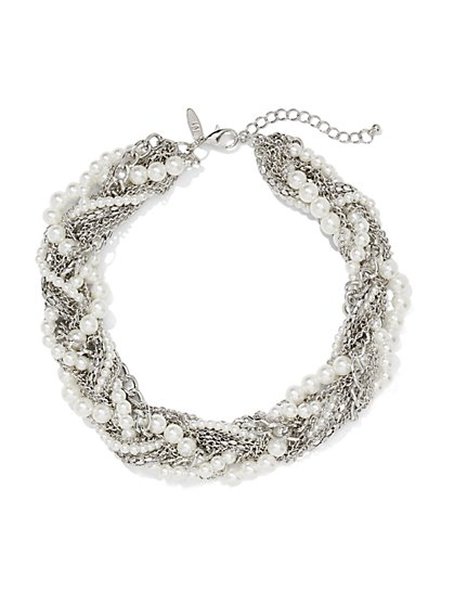 Faux-Pearl & Chain Link Twist Necklace  - New York & Company