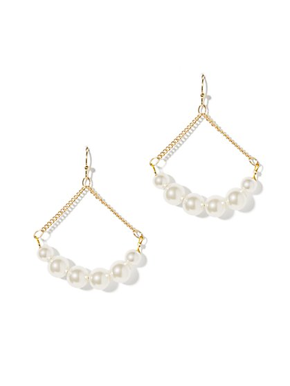 Faux-Pearl Chandelier Drop Earrings