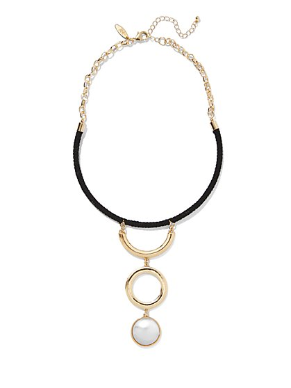 Faux-Pearl & Circle Pendant Collar Necklace  - New York & Company