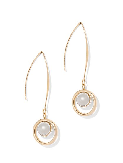 Faux-Pearl Circular Drop Earring  - New York & Company