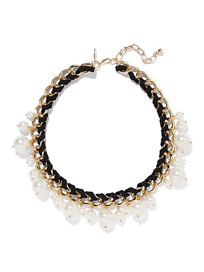 Faux-Pearl Collar Necklace - New York & Company