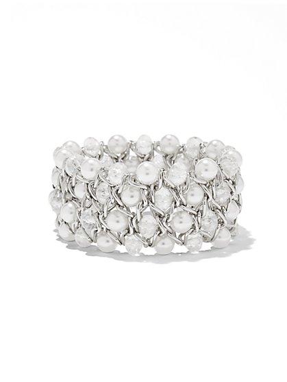 Faux-Pearl Cuff Bracelet  - New York & Company