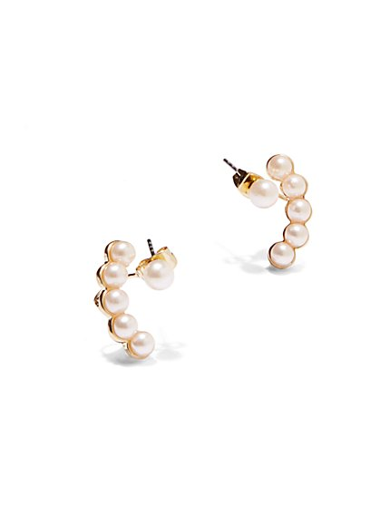 Faux-Pearl Cuff Earrings  - New York & Company